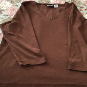 Chico's Brown Long Sleeve Pullover Shirt